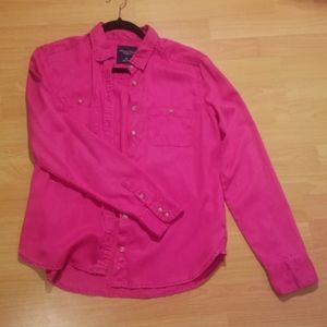 American Eagle Pink Collared Button Up Shirt
